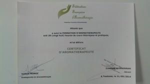 certificat aroma 2